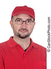 negociante, uniforme vermelho