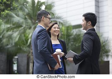 negocio asiático, colegas, hablar