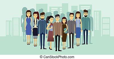 negocio asiático, gente, grupo, encima, ciudad, plano de...