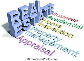 negocio bienes raíces, agencia, servicios, hogar
