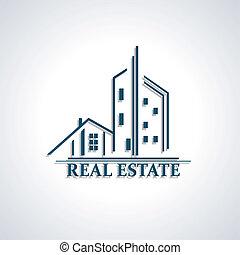 negocio bienes raíces, moderno, ilustración, vector, icono,...