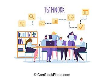negocio corporativo, equipo, gente, atrás, desk., plano, caracteres, oficina, workers., trabajo en equipo, concept., coworking, espacio, con, hombre y mujer, con, laptop., vector, ilustración