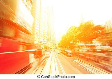 negocio de la ciudad, senderos, moderno, semáforo