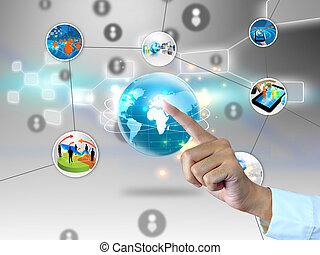 negocio global, connected.