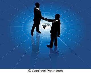 negocio global, hombres, apretón de manos, mundo, acuerdo