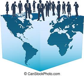 negocio global, recursos, gente, en, mundo, cubo