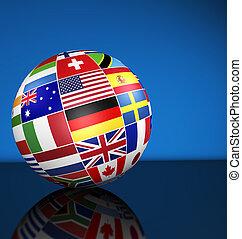 negocio internacional, globo, mundo, banderas, concepto