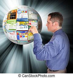 negocio internet, hombre señalar con el dedo, a, el, tela