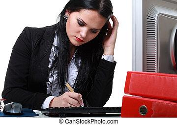 negocio moderno, mujer se sentar, en, escritorio de oficina