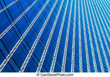negocio moderno, oficina, rascacielos, edificio