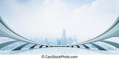 negocio moderno, perspectiva, concepto, con, futurista,...
