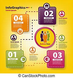 negocio moderno, trabajo, infographic, plantilla, equipo
