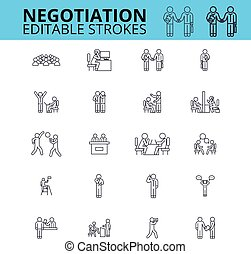 Negogiation skills outline vector icons. Editable strokes....