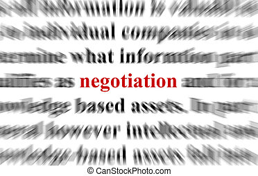 Negotiation - a conceptual image with the focus on the word ...
