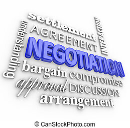 Negotiation word collage in 3d letters with terms like settlement, agreement, interaction, understanding, bargain, arrangement, discussion, approval
