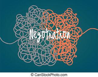 Negotiation in progress - Cartoon illustration of an...