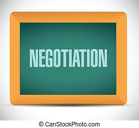 negotiation message on a board illustration