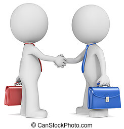 Negotiation. - The Dude X 2 shaking hands, blue and red side...
