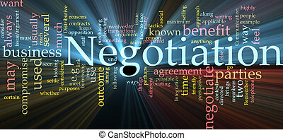 Negotiation word cloud glowing - Word cloud concept...