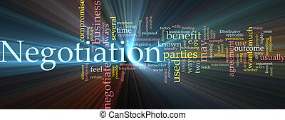 Negotiation word cloud glowing - Word cloud concept...