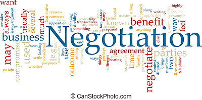 Negotiation word cloud - Word cloud concept illustration of ...
