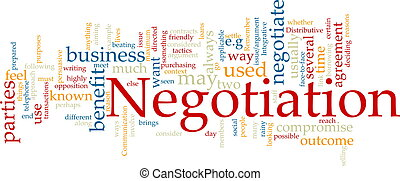 Negotiation word cloud - Word cloud concept illustration of...