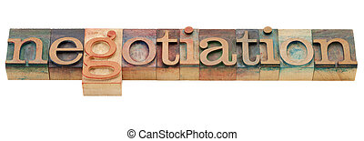 negotiation word - negotiation - isolated word in vintage...