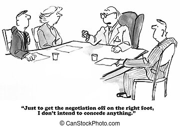 Negotiator - Business cartoon about a negotiation where the...
