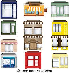 negozi, set, cartone animato