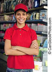 negozio, adolescente, parte lavora, tempo, stationery,...