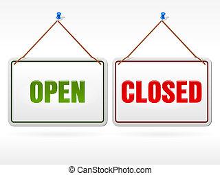 negozio, aperto, segno closed