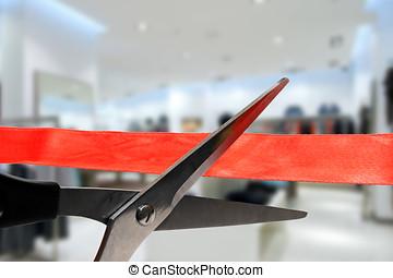 negozio, apertura, -, taglio, rosso, grande, nastro