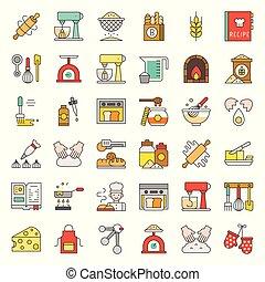 negozio, appartamento, set, editable, panetteria, relativo, colpo, disegno, pasta, icona