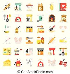 negozio, appartamento, set, relativo, panetteria, disegno, pasta, icona