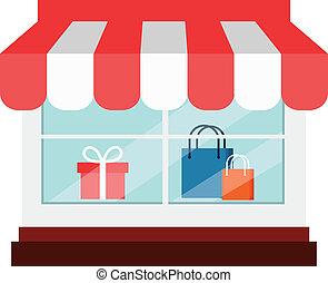 negozio, appartamento, vettore, icona