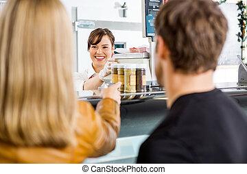 negozio, assistere, clienti, commessa, macellaio
