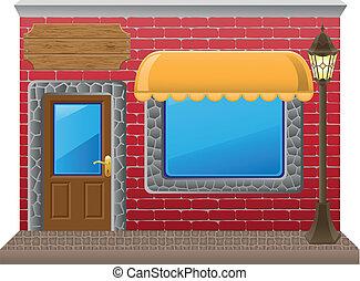 negozio, bacheca, facciata, vettore