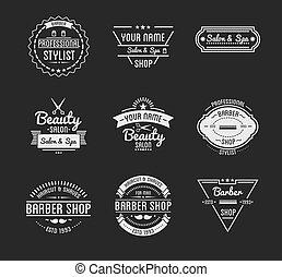 negozio, badges., salone, set, bellezza, vendemmia, barbiere...