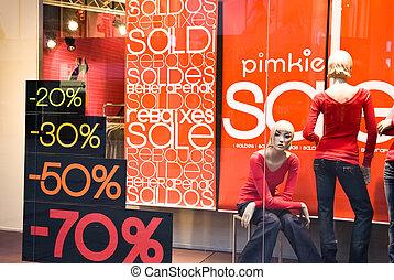 negozio, bandiere, finestra, vendita