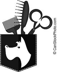 Cane doggy coccolare salone yorkshire spazzola per for Simbolo barbiere