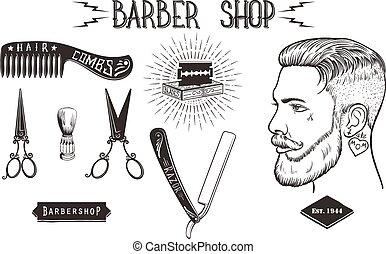 negozio barbiere, vendemmia, set.
