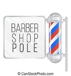negozio, blu, classico, pole., isolato, illustrazione, polo, barbiere, vector., stripes., bianco, 3d, rosso
