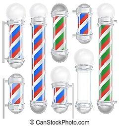 negozio, blu, classico, set., isolato, illustrazione, polo, barbiere, vector., stripes., bianco, 3d, rosso