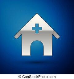 negozio, blu, veterinario, ospedale, animali, coccolare, veterinario, isolato, illustrazione, argento, fondo., clinica, vettore, veterinario, clinic., medicina, o, icona