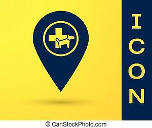 negozio, blu, veterinario, ospedale, animali, mappa, coccolare, illustrazione, veterinario, isolato, giallo, fondo., clinica, vettore, veterinario, clinic., medicina, puntatore, o, icona