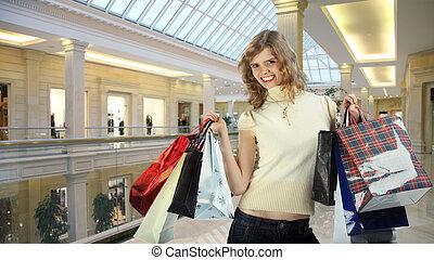 negozio, borse, collage, ragazza