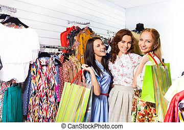 negozio, borse, donne, tre, felice