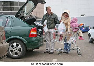 negozio, borse, mettere, automobile famiglia