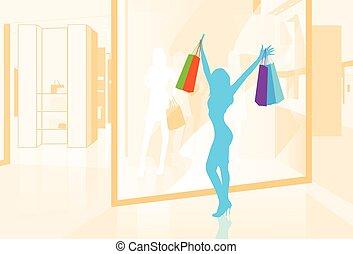 negozio, borse, shopping donna, illustrazione, finestra, vettore, presa