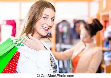 negozio, borse, shopping donna, o, negozio